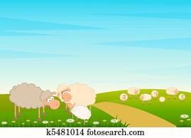 family of cartoon sheep