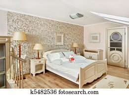 Stock Fotografie - klassieke, stijl, luxe, slaapkamer, binnenste, in ...