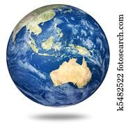 Planet earth on white - Australian view