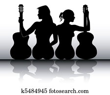 silhouettes of girls with guitars