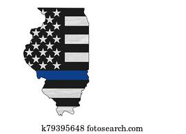 American thin blue line flag on map of Illinois