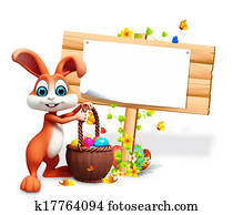 Easter bunny with sign