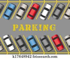 autos, park, in, kaufmannsladen, parkplatz, reihen