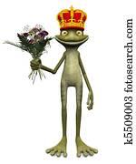 Charming cartoon frog prince.