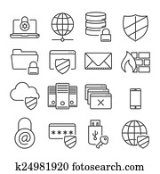 Information technology security icons. Plain line