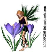 Spring Crocus Fairy - Purple