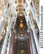 Architecture detail of ceiling and pillars in La Sagrada Familia, Barcelona by Gaudi