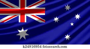 Waving flag of the Australia