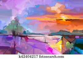 Abstract oil painting landscape background.