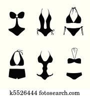 bikini, ,, badeanzug, ,, badehose
