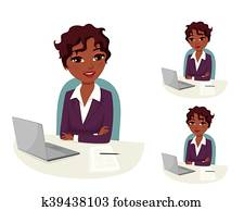 Business evaluation: confident business woman conducting job interview