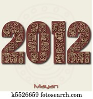 Image of the year 2012 with Mayan ruins isolated on a white background.