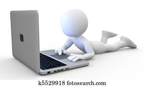 Man lying with a laptop