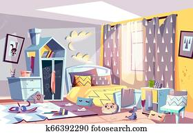 Kids bedroom in mess cartoon illustration