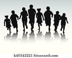 kids running silhouette