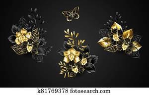 Set of black orchids