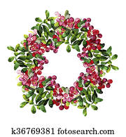 Watercolor cranberry wreath