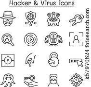 Hacker icon set in thin line style