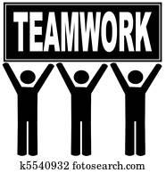 men holding sign up that says teamwork