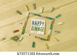 Text sign showing Happy Summer. Conceptual photo Beaches Sunshine Relaxation Warm Sunny Season Solstice Colored clothespin papers empty reminder wooden floor background office.