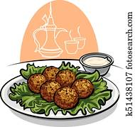falafel with lettuce and sauce