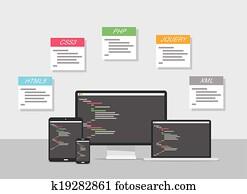 flache, webentwicklung, design, vektor
