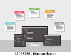Flat web development design vector