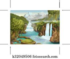 Forest and waterfall landscape