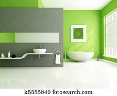 green and gray contemporary bathroom