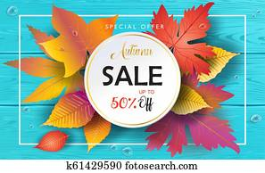 Hello Autumn Sale banner, maple leaves, wood background