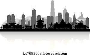 Hong Kong China city skyline silhouette