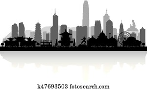 hongkong, china, stadt skyline, silhouette