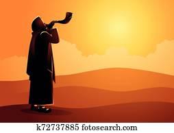 Jewish man blowing the Shofar ram?s horn