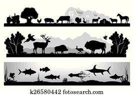 set of black and white vector lands