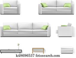White sofa with green pillow