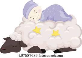 Baby Sleep Sheep Illustration