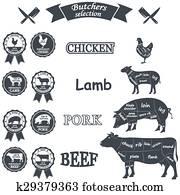 chicken, pig, cow, lamb