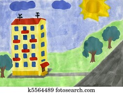Childs Drawing Of Yellow House