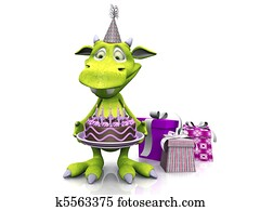 Cute cartoon monster holding birthday cake.