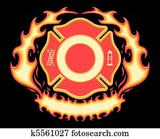 Firefighter Cross Flaming Banner