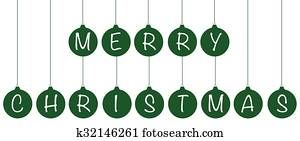 Green Merry Christmas Ornaments