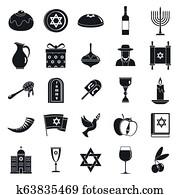 Hanukkah menorah icon set, simple style