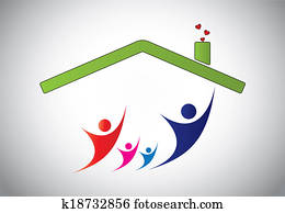 happy family of man, woman and children jumping joy in home house. happiness of family with parents and kids with hands up in the air with house roof and bright white background - concept illustration