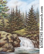 Mountain river with falls