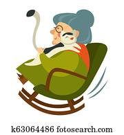 Old woman on retirement sitting in wooden rocking chair