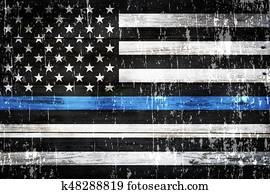 Police Support Flag Weathered Background