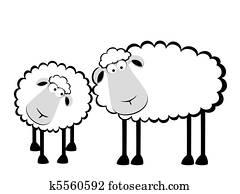 Two cartoon smiling sheep