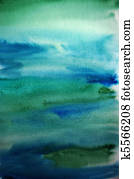 Watercolor green hand painted art background for design
