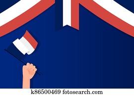 Hand holding france flag of happy bastille day vector design