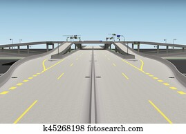 road bridge intersection 3d rendering